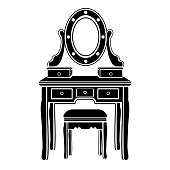 Dressing table with mirror icon, logo, female boudoir for makeup silhouette, black and white drawing, vector illustration