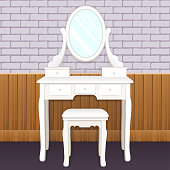 Dressing table with mirror with lights, female boudoir for applying makeup, flat drawing, vector illustration. White elegant table with shelves and an oval mirror with light bulbs and chair in room