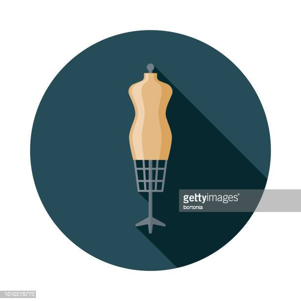 dressmaker's model flat design france icon - mannequin stock illustrations, clip art, cartoons, & icons