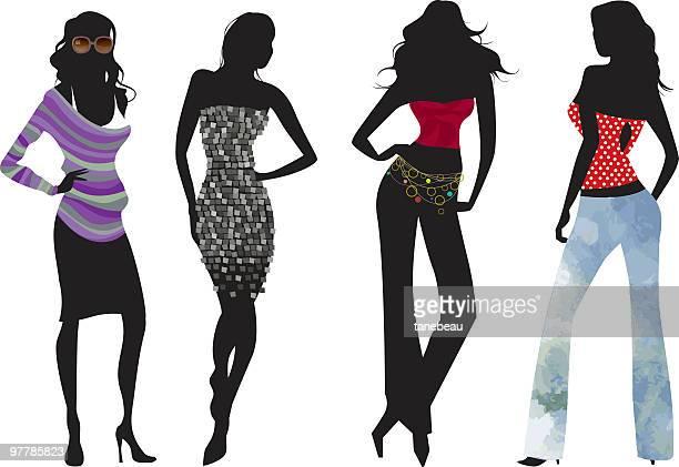 illustrations, cliparts, dessins animés et icônes de silhouette chic et décontractée - femme bcbg
