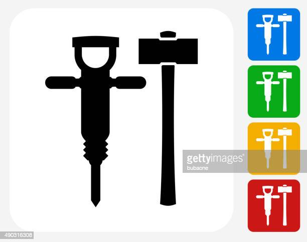 drill and hammer icon flat graphic design - dental drill stock illustrations
