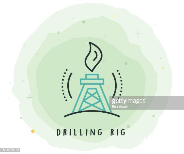 drilling rig icon with watercolor patch - drilling rig stock illustrations, clip art, cartoons, & icons