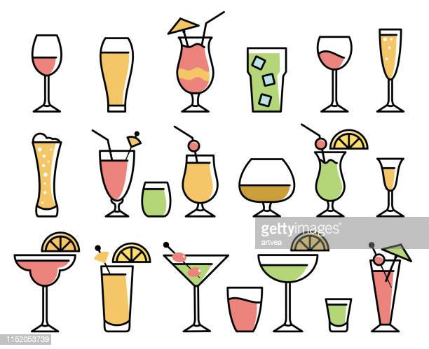 drink & alcohol icon set - juice drink stock illustrations, clip art, cartoons, & icons