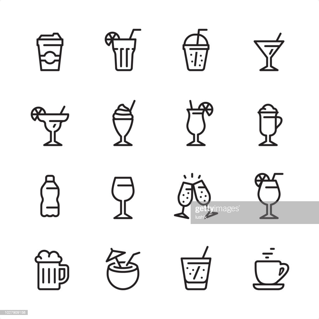 E o álcool da bebida - conjunto de ícones de contorno : Ilustração