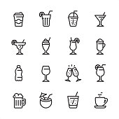 Drink & Alcohol - outline icon set
