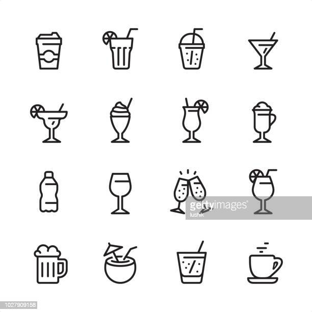illustrazioni stock, clip art, cartoni animati e icone di tendenza di drink & alcohol - outline icon set - bibita