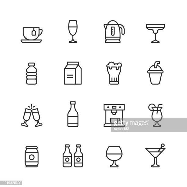 drink and alcohol line icons. editable stroke. pixel perfect. for mobile and web. contains such icons as tea, wine, cocktail, water, milk, beer, milkshake, champagne, coffee machine, beach drink, beer can. - coffee drink stock illustrations