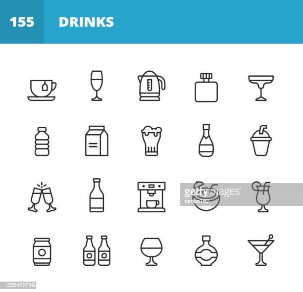 bildbanksillustrationer, clip art samt tecknat material och ikoner med dryck och alkohol line ikoner. redigerbar linje. pixel perfekt. för mobil och webb. innehåller ikoner som te, vin, cocktail, vatten, mjölk, öl, milkshake, champagne, kaffebryggare, stranddryck, ölburk. - starksprit