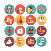 Drink and beverage icon collection. Food and drinks.
