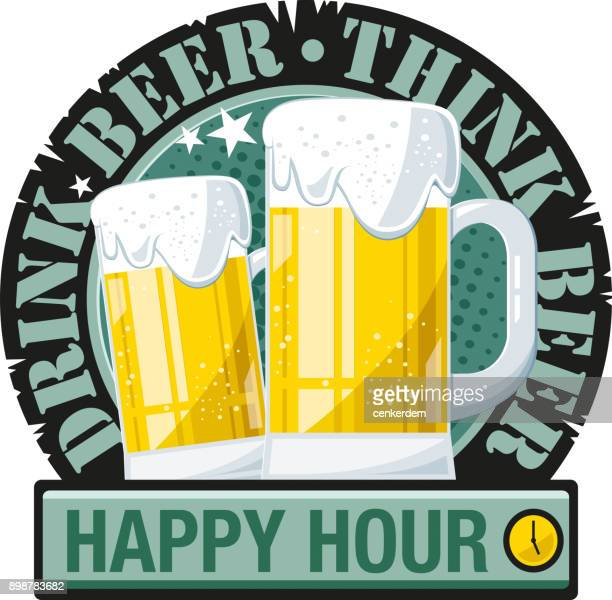 drink beer, think beer (vector) - lager stock illustrations, clip art, cartoons, & icons