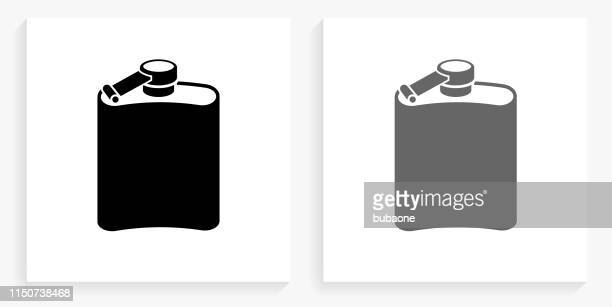 drink black and white square icon - flask stock illustrations