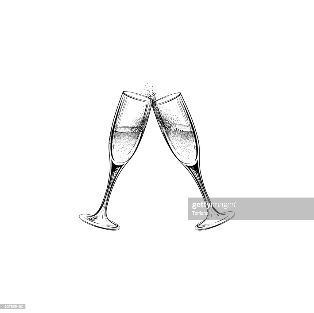 Drink champagne sign. Christmas party icon with clinking wine gl
