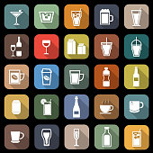Drink flat icons with long shadow
