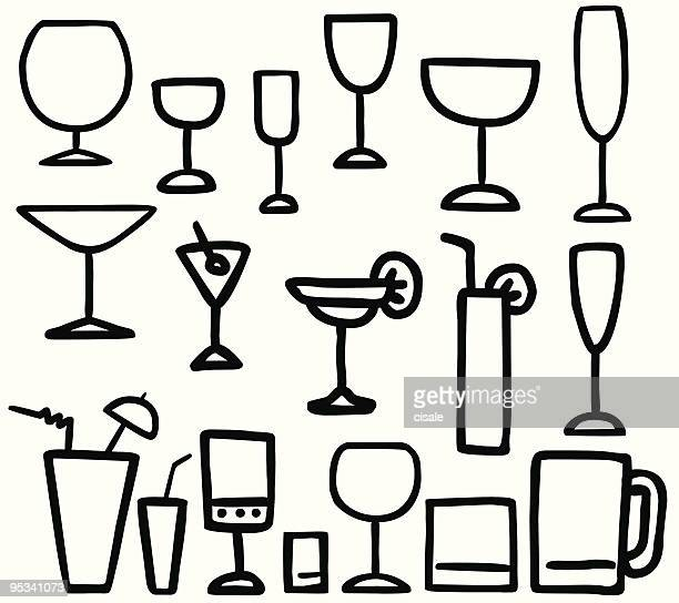 drink glasses ilustration - gin stock illustrations, clip art, cartoons, & icons
