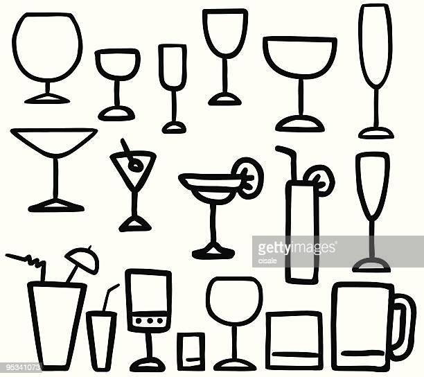 drink glasses ilustration - vodka stock illustrations, clip art, cartoons, & icons