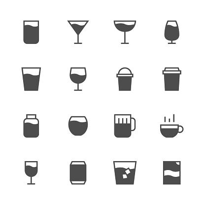 Drink Icon Set 1 - Gray Series - gettyimageskorea