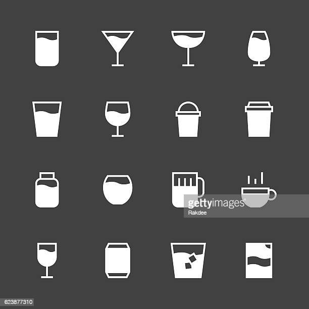 drink icon set 1 - white series - juice drink stock illustrations, clip art, cartoons, & icons