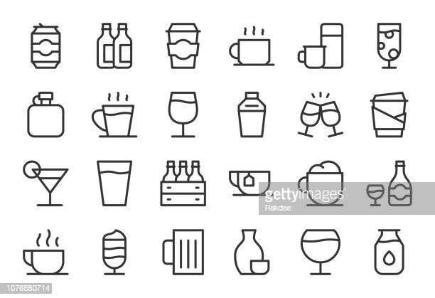 drink icons set 1 - light line series - drinking glass stock illustrations