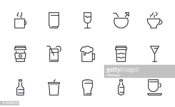 Drink icons set outline style