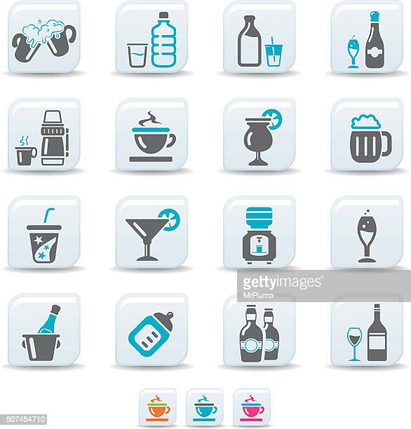 drink icons | simicoso collection - ice bucket stock illustrations, clip art, cartoons, & icons
