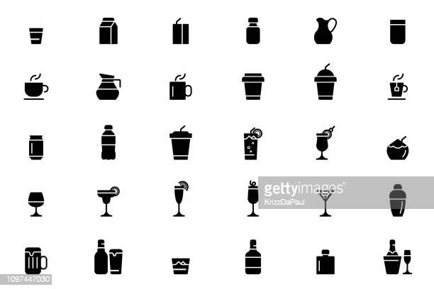 illustrazioni stock, clip art, cartoni animati e icone di tendenza di drink icons - bibita