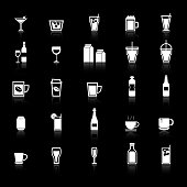 Drink icons with reflect on black background