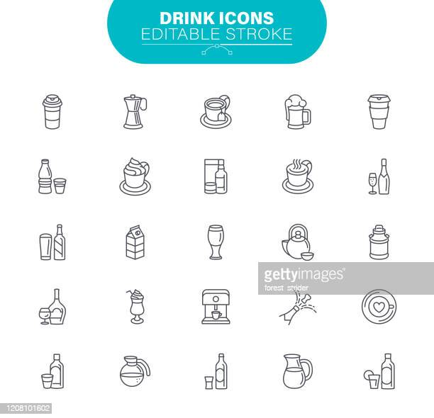 drink line icons. editable stroke. contains such icon alcohol, coffee, wine, champagne, beer, - coffee drink stock illustrations