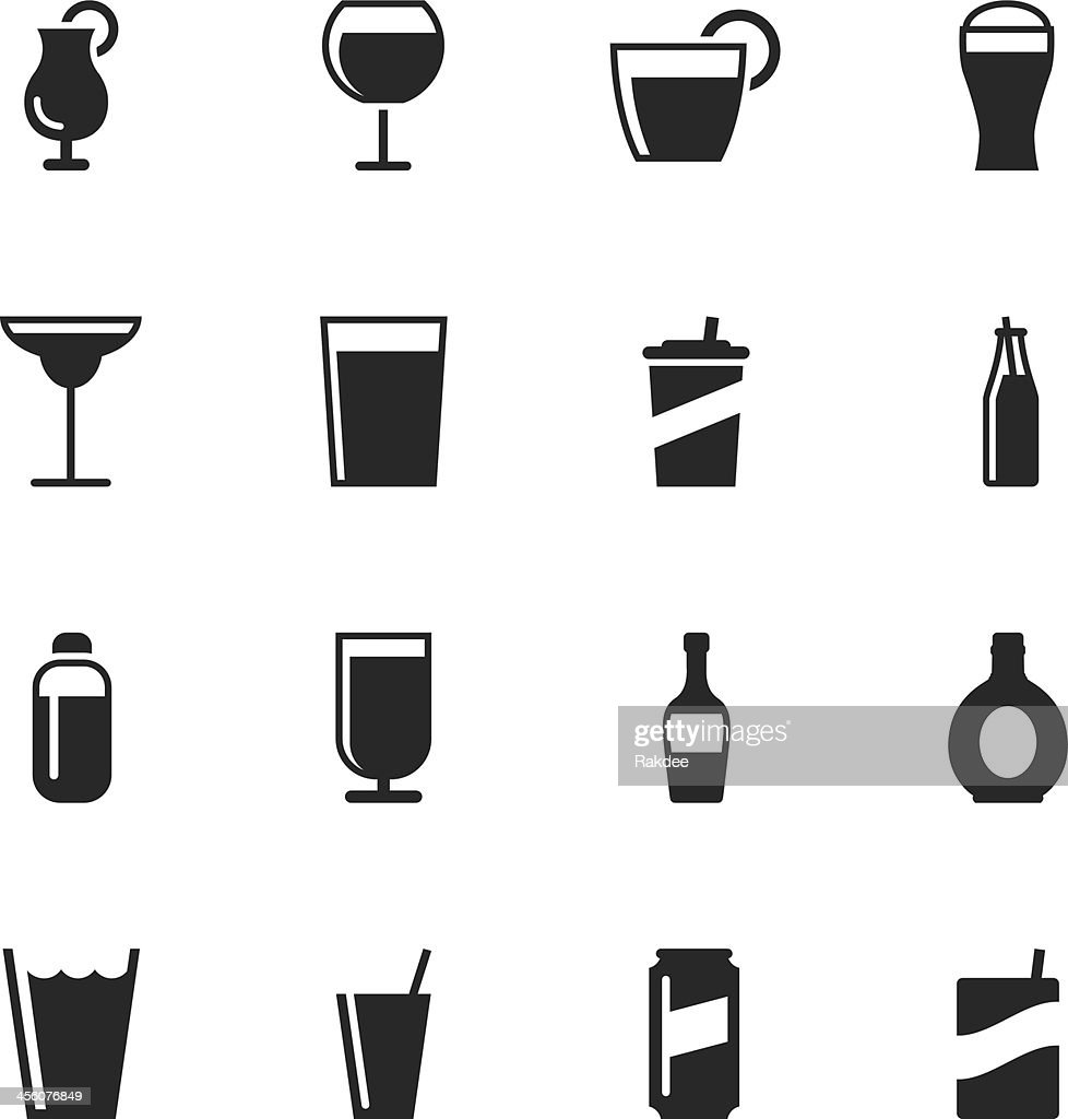 Drink Silhouette Icons | Set 2 : stock illustration