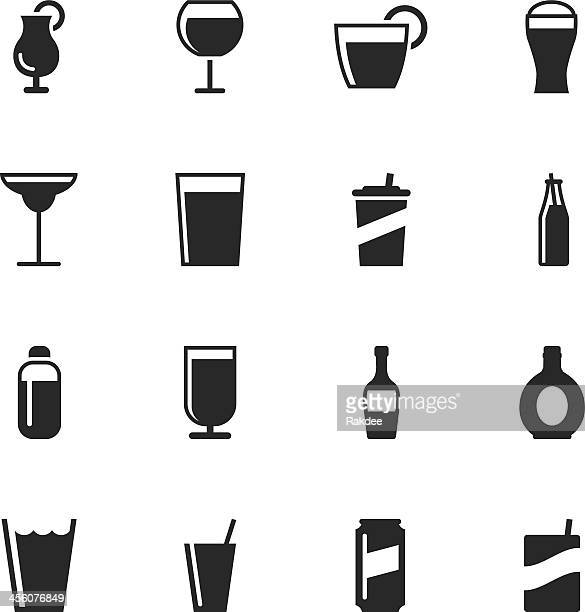 drink silhouette icons | set 2 - juice drink stock illustrations, clip art, cartoons, & icons