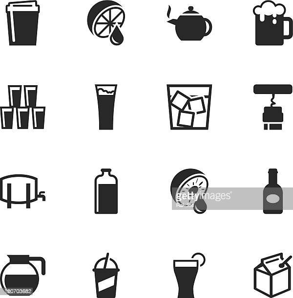 drink silhouette icons | set 3 - fruit juice stock illustrations, clip art, cartoons, & icons