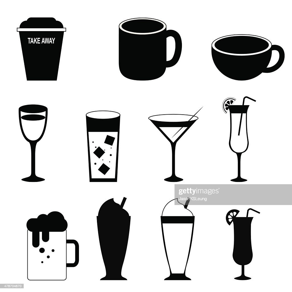 Drink Silhouette Icons- Vector