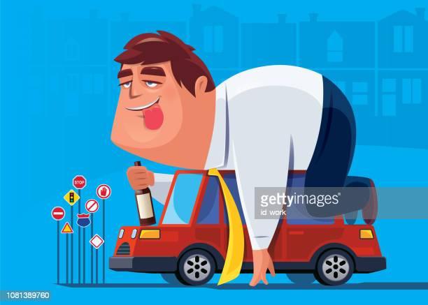 ilustrações, clipart, desenhos animados e ícones de bebedor deitado no carro - bêbado