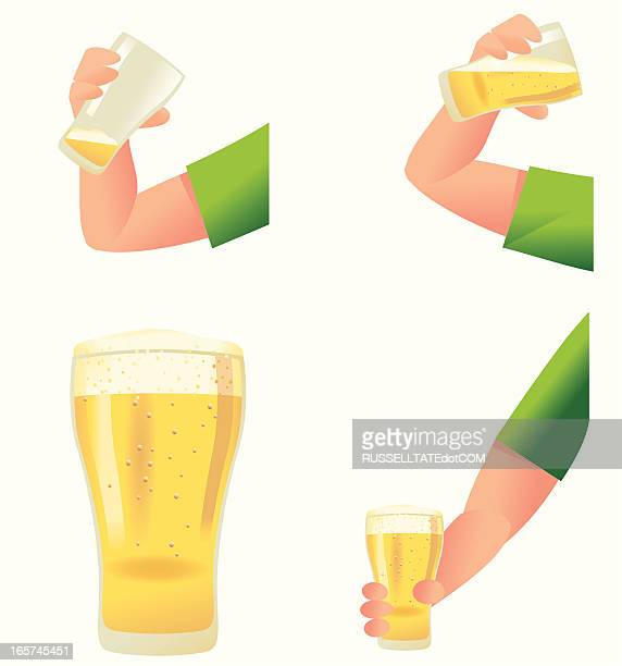 drinking arm - lager stock illustrations, clip art, cartoons, & icons