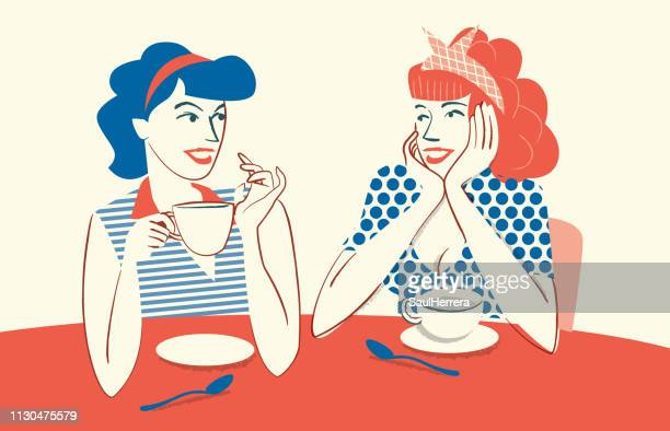 drinking coffee and talking - only women stock illustrations, clip art, cartoons, & icons
