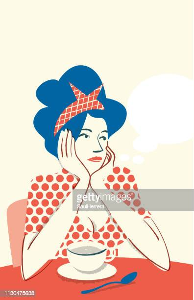 drinking coffee and worried - mujeres jóvenes stock illustrations