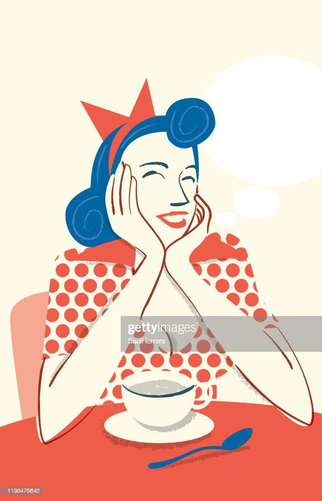 Drinking coffee smiling : Stock Illustration