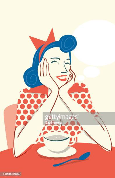 drinking coffee smiling - taza de café stock illustrations