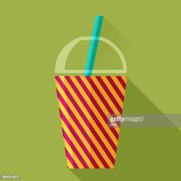 drinking glass and straw - juice drink stock illustrations, clip art, cartoons, & icons