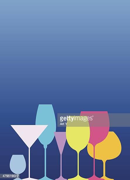 drinking glasses - cognac region stock illustrations, clip art, cartoons, & icons