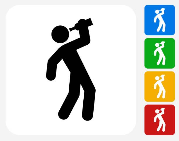 drinking icon flat graphic design - drunk stock illustrations
