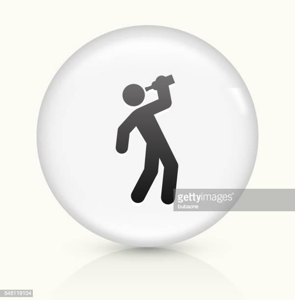 Beber símbolo num botão de vetor arredondado branco