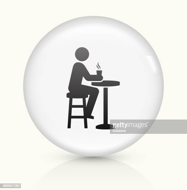 drinking icon on white round vector button - coffee break stock illustrations, clip art, cartoons, & icons