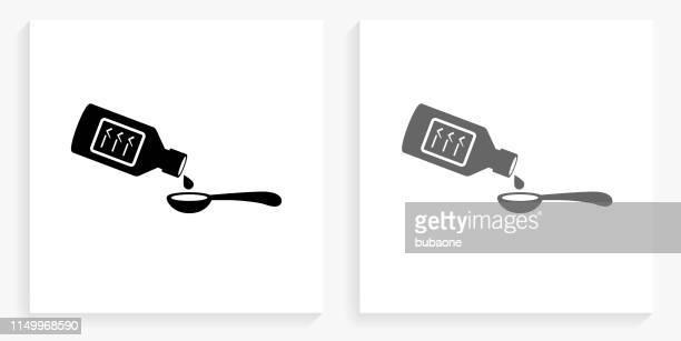 illustrations, cliparts, dessins animés et icônes de icône de la médecine potable noir et blanc carré - cuillère