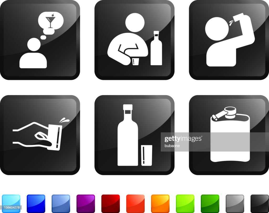Drinking Problem royalty free vector icon set