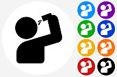 Drinking Shot Icon on Flat Color Circle Buttons