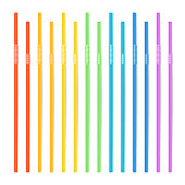 Drinking Straws Vector. Set Of 3D Striped Icon Isolated In White Background. Vector illustration