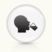 Drinking Water icon on white round vector button