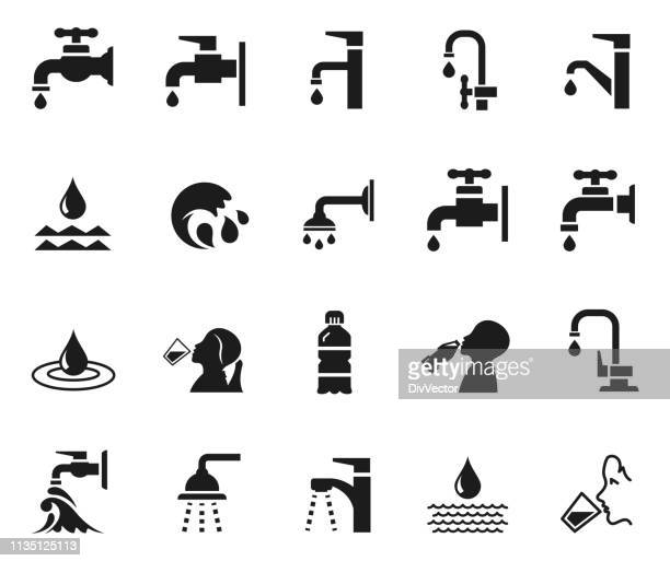 drinking water icon set - thirsty stock illustrations