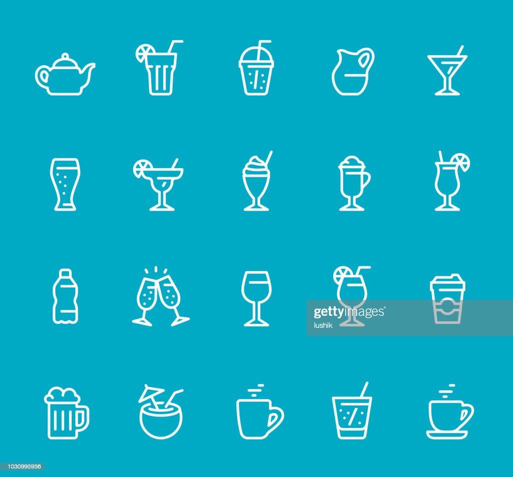 Drinks & Alcohol - line icon set : stock illustration