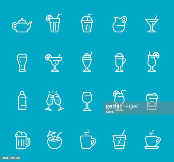 drinks & alcohol - line icon set - juice drink stock illustrations, clip art, cartoons, & icons